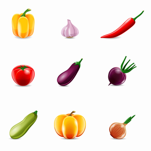 Food vegetables realistic set of paprika garlic chili isolated vector illustration.のイラスト素材 [FYI03067178]