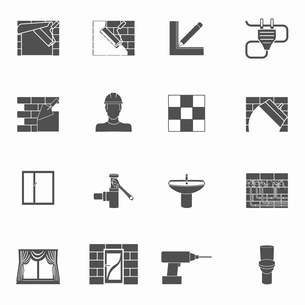 Home repair renovation and construction tools black icons set isolated vector illustrationのイラスト素材 [FYI03067179]
