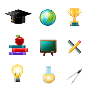 Education school supplies realistic icons set with graduation hat globe award isolated vector illustのイラスト素材 [FYI03067189]