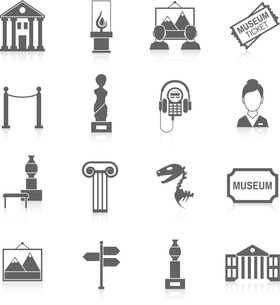 Museum building artistic exhibition icons black set isolated vector illustrationのイラスト素材 [FYI03067196]