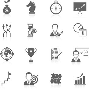 Business strategy finance planning black icons set isolated vector illustrationのイラスト素材 [FYI03067203]