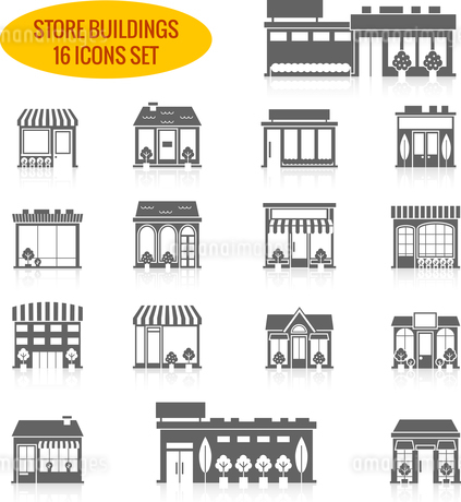 Store shop front window buildings black icon set isolated vector illustrationのイラスト素材 [FYI03067206]