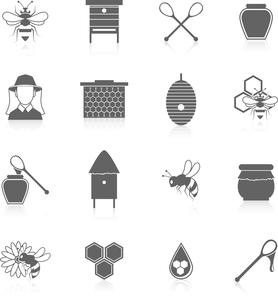 Natural sweet liquid bee honey icons black set isolated vector illustrationのイラスト素材 [FYI03067207]