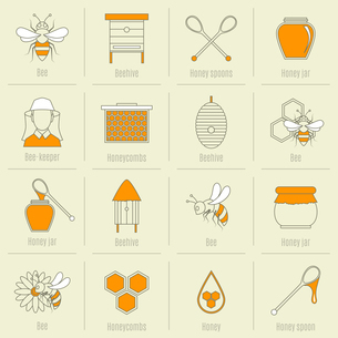 Bee honey icons flat line set with beehive spoon jar isolated vector illustrationのイラスト素材 [FYI03067210]