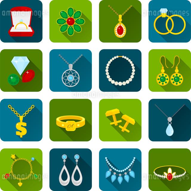 Jewelry icons set of expensive golden diamond treasures isolated vector illustrationのイラスト素材 [FYI03067211]