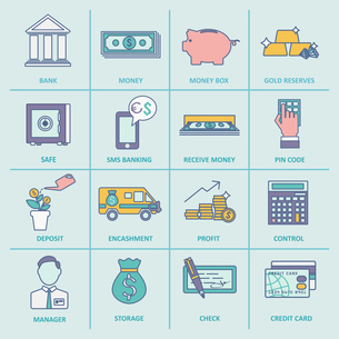 Bank service money control profit and growth flat line icons set isolated vector illustrationのイラスト素材 [FYI03067221]
