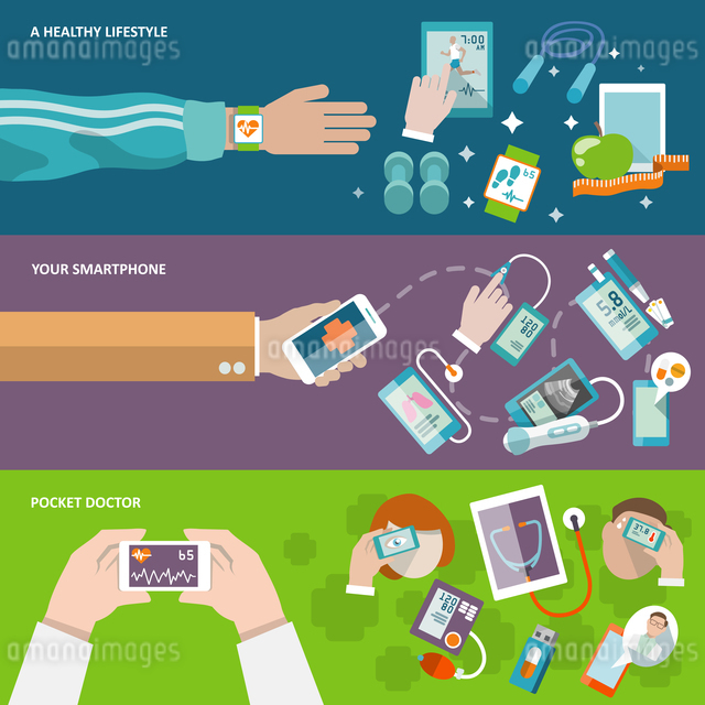 Digital health healthy lifestyle smartphone pocket doctor banner set isolated vector illustrationのイラスト素材 [FYI03067232]