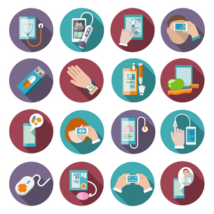 Digital health icons set of pocket therapist blood pressure monitor isolated vector illustrationのイラスト素材 [FYI03067234]