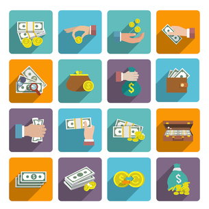 Money stack bag wallet icon flat set with investment market wealth elements isolated vector illustraのイラスト素材 [FYI03067239]