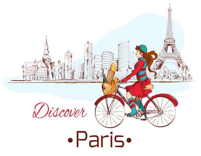 Discover Paris sketch poster with gjrl on bike and eiffel tower vector illustrationのイラスト素材 [FYI03067240]