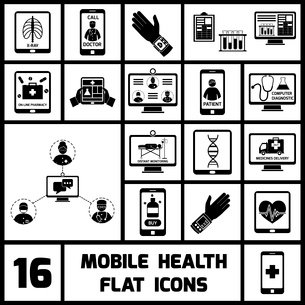 Mobile health call doctor distant monitoring icons black set isolated vector illustrationのイラスト素材 [FYI03067244]