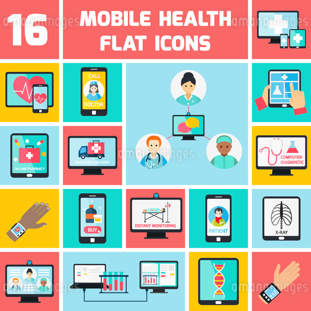 Mobile health online pharmacy computer diagnostics icons flat set isolated vector illustrationのイラスト素材 [FYI03067246]