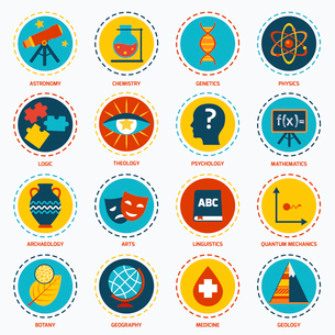 Science areas icons set with astronomy chemistry genetics isolated vector illustrationのイラスト素材 [FYI03067250]