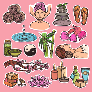Spa therapy beauty health care wellness sketch color icons set isolated vector illustrationのイラスト素材 [FYI03067253]