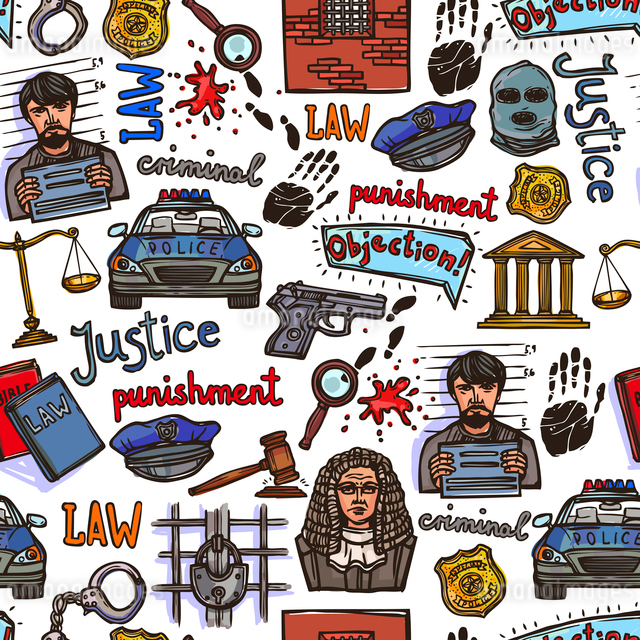 Law justice police and legislation icon color sketch seamless pattern vector illustrationのイラスト素材 [FYI03067255]