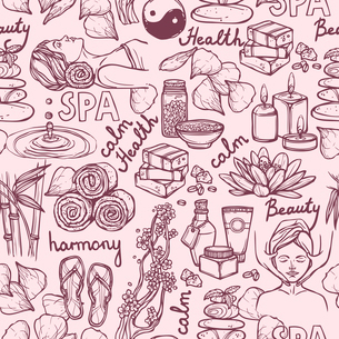 Spa therapy alternative medicine wellness sketch seamless pattern vector illustration.のイラスト素材 [FYI03067256]