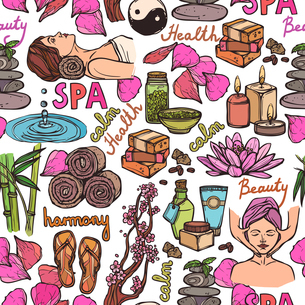 Spa therapy beauty health care wellness sketch color seamless pattern vector illustrationのイラスト素材 [FYI03067257]