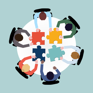 Business team meeting brainstorming concept top view group people on table with puzzle vector illustのイラスト素材 [FYI03067258]