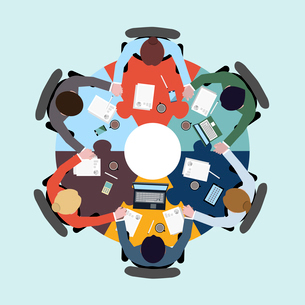 Business teamwork concept top view group people on table holding hands vector illustrationのイラスト素材 [FYI03067261]