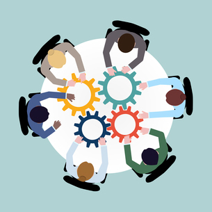 Business team meeting cooperation concept top view group people on table with cogwheels vector illusのイラスト素材 [FYI03067263]