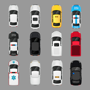 Cars transport top view icons set isolated vector illustrationのイラスト素材 [FYI03067268]
