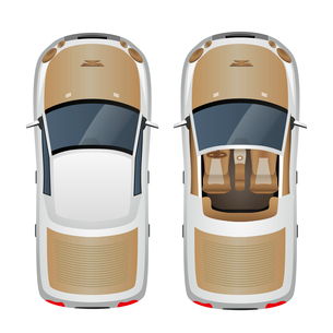 Cabriolet car with closed and open roof top view isolated vector illustrationのイラスト素材 [FYI03067269]