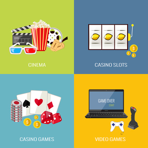Leisure video sport and gambling casino games flat icons set isolated vector illustrationのイラスト素材 [FYI03067271]