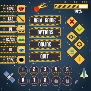 Space arcade adventure game menu interface layout template vector illustrationのイラスト素材 [FYI03067284]