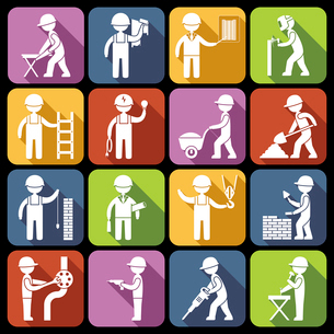 Construction worker repairman mechanic silhouettes icons white set isolated vector illustrationのイラスト素材 [FYI03067287]