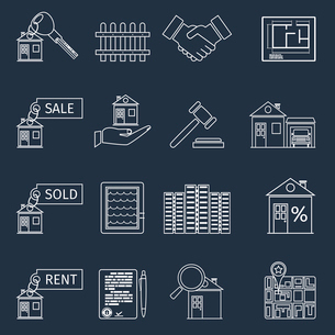 Real estate outline icons set of house apartment and commercial property isolated vector illustratioのイラスト素材 [FYI03067292]