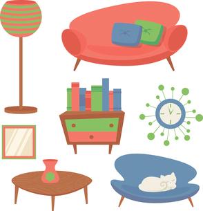 Interior indoor living room design elements set with sofa clock mirror isolated vector illustrationのイラスト素材 [FYI03067299]