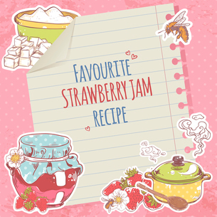 Sweet and healthy homemade strawberry jam recipe on lined paper poster vector illustrationのイラスト素材 [FYI03067302]