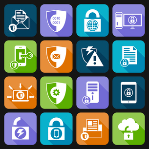 Business cloud computing security and server virus protection icons set white vector illustrationのイラスト素材 [FYI03067304]