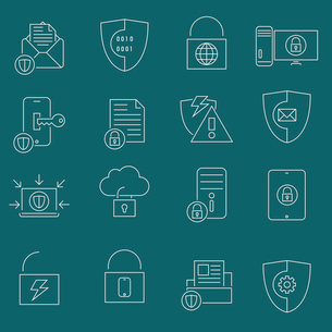 Business website protection technology and cloud connection security icons set outline vector illustのイラスト素材 [FYI03067305]
