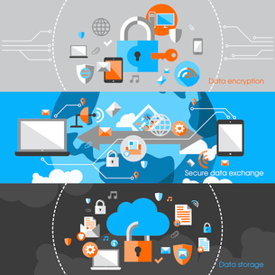 Business cloud data computing security and server virus protection banner design elements vector illのイラスト素材 [FYI03067306]
