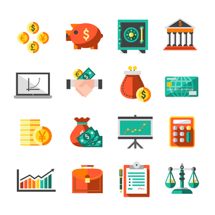 Finance banking business money exchange icons set with briefcase scales chart isolated vector illustのイラスト素材 [FYI03067312]