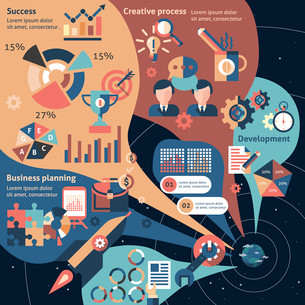 Creative infographic set with business planning development success elements vector illustrationのイラスト素材 [FYI03067317]