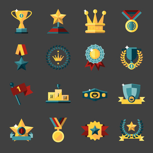 Award icons set of trophy medal winner prize champion cup isolated vector illustrationのイラスト素材 [FYI03067319]