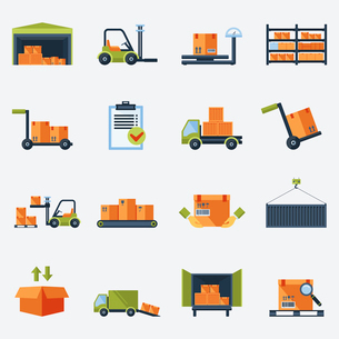 Warehouse transportation and delivery icons flat set isolated vector illustrationのイラスト素材 [FYI03067323]