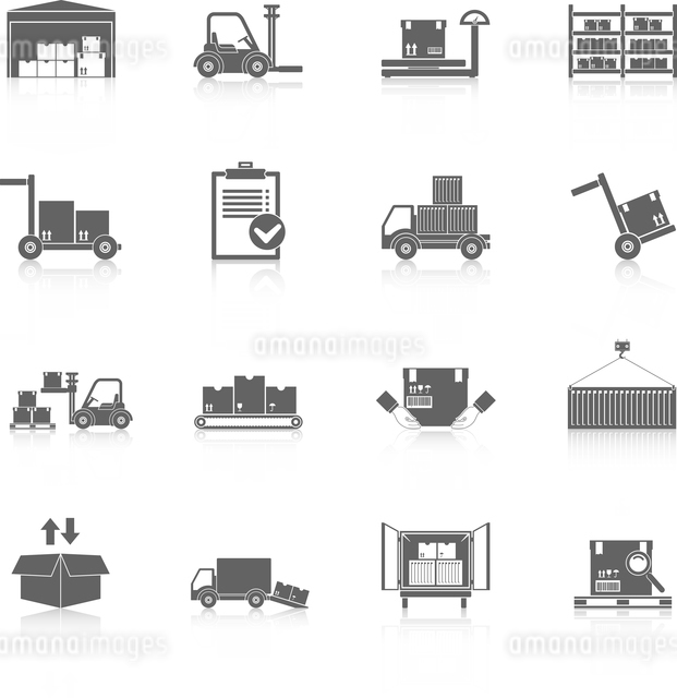 Warehouse distribution and logistics service icons black set isolated vector illustrationのイラスト素材 [FYI03067325]