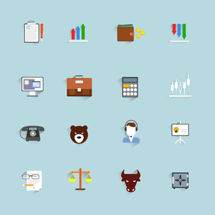 Finance exchange money trading icons flat set isolated vector illustrationのイラスト素材 [FYI03067340]