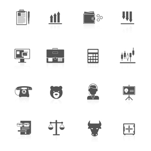 Finance bank exchange money trading icons black set isolated vector illustration.のイラスト素材 [FYI03067341]