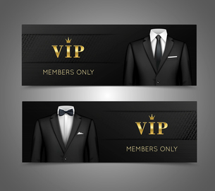 Two horizontal vip privilege members luxury products advertisement black banners set with businessmaのイラスト素材 [FYI03067355]