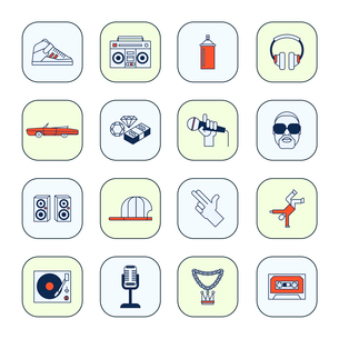 Rap music icons set with sneakers boombox headphones isolated vector illustrationのイラスト素材 [FYI03067359]
