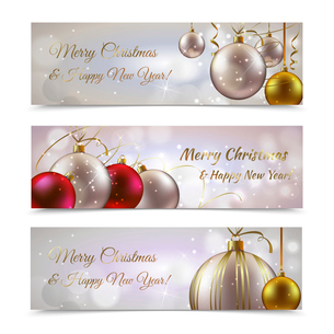 Christmas and new year horizontal banners set with decoration balls isolated vector illustrationのイラスト素材 [FYI03067362]