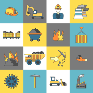 Coal machinery factory mining machinery flat line icons set isolated vector illustrationのイラスト素材 [FYI03067366]