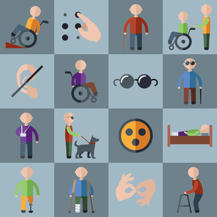 Disabled people care assistance and accessibility icons set isolated vector illustrationのイラスト素材 [FYI03067388]