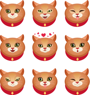 Cute cat face character emotions set decorative icons isolated vector illustrationのイラスト素材 [FYI03067406]