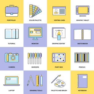 Graphic design studio tools drawing process workplace flat line icons set isolated vector illustratiのイラスト素材 [FYI03067409]