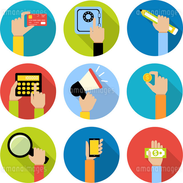Business human hands with money coin and paper cash safe credit card icons set isolated vector illusのイラスト素材 [FYI03067419]